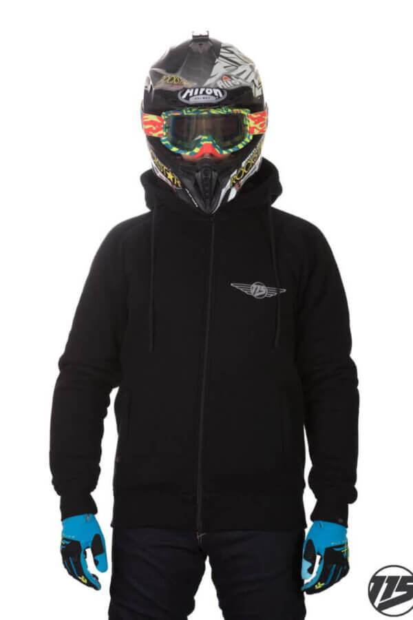 Bluza motocyklowa męska 115moto Black Hoodie